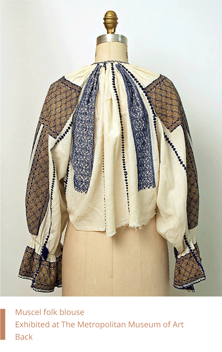 Muscel folk blouse back. Exhibited at The Metropolitan Museum of Art