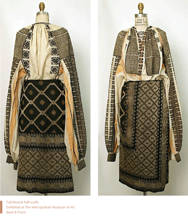 Full Muscel folk outfit. Exhibited at The Metropolitan Museum of Art